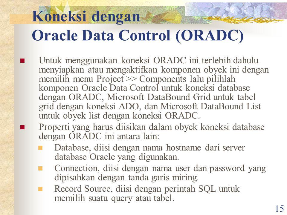 Koneksi dengan Oracle Data Control (ORADC)