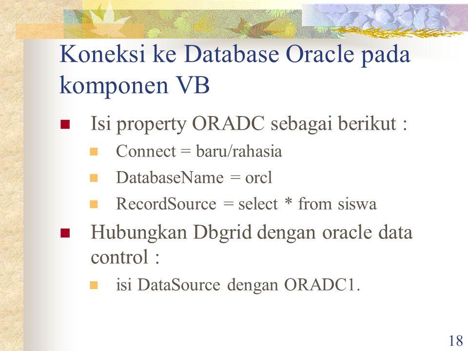 Koneksi ke Database Oracle pada komponen VB