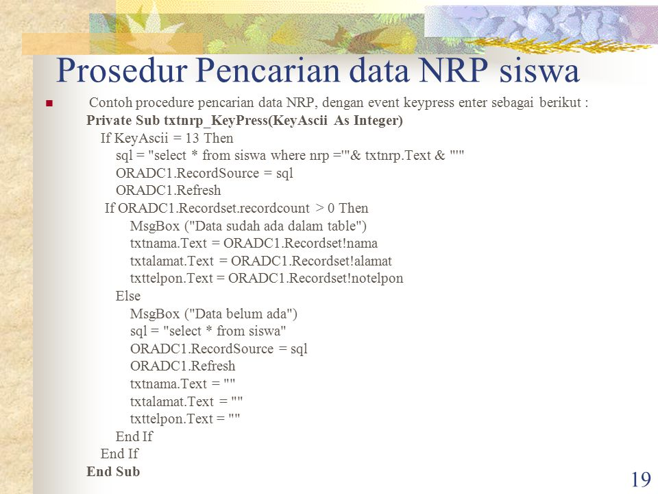 Prosedur Pencarian data NRP siswa