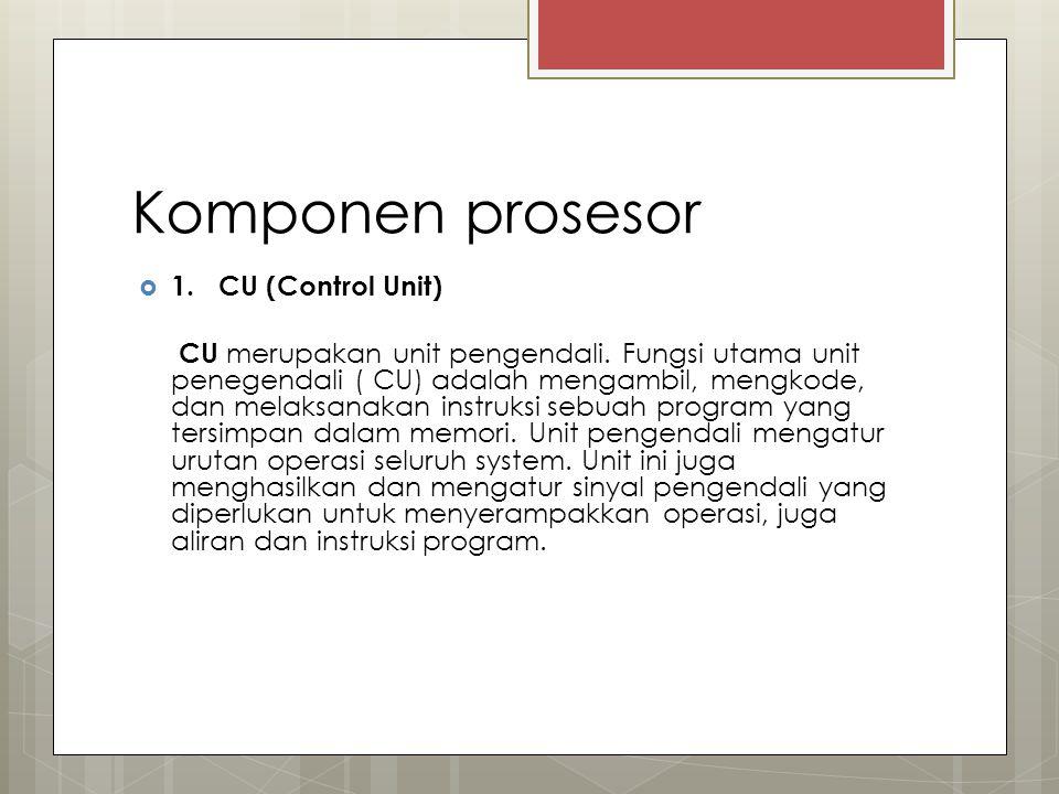 Komponen prosesor 1. CU (Control Unit)