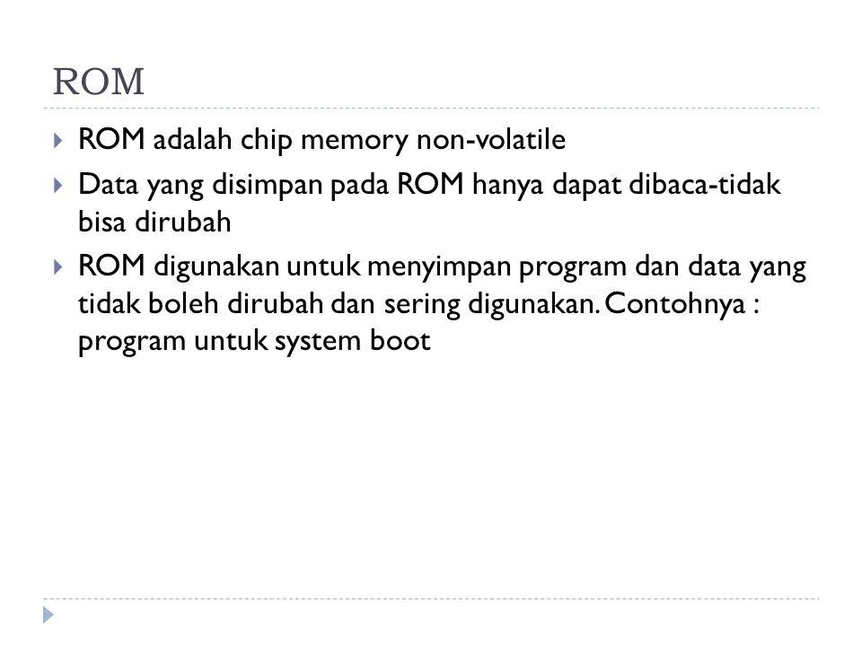 ROM ROM adalah chip memory non-volatile