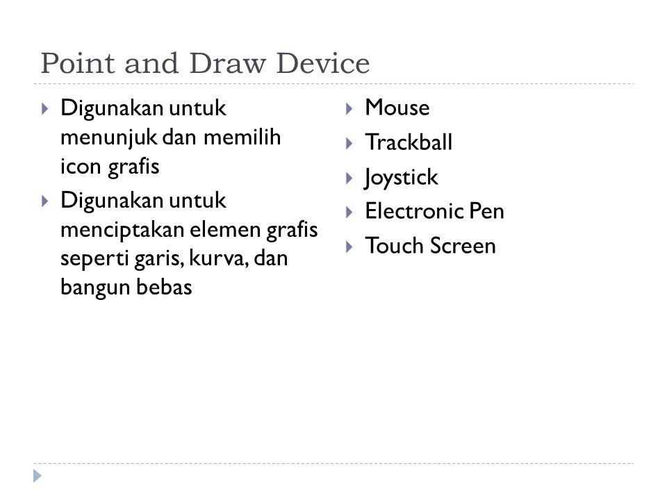 Point and Draw Device Digunakan untuk menunjuk dan memilih icon grafis