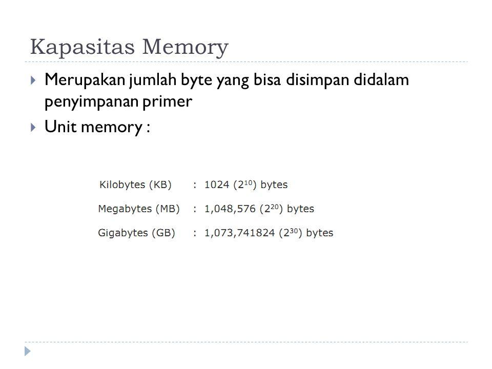 Kapasitas Memory Merupakan jumlah byte yang bisa disimpan didalam penyimpanan primer Unit memory :