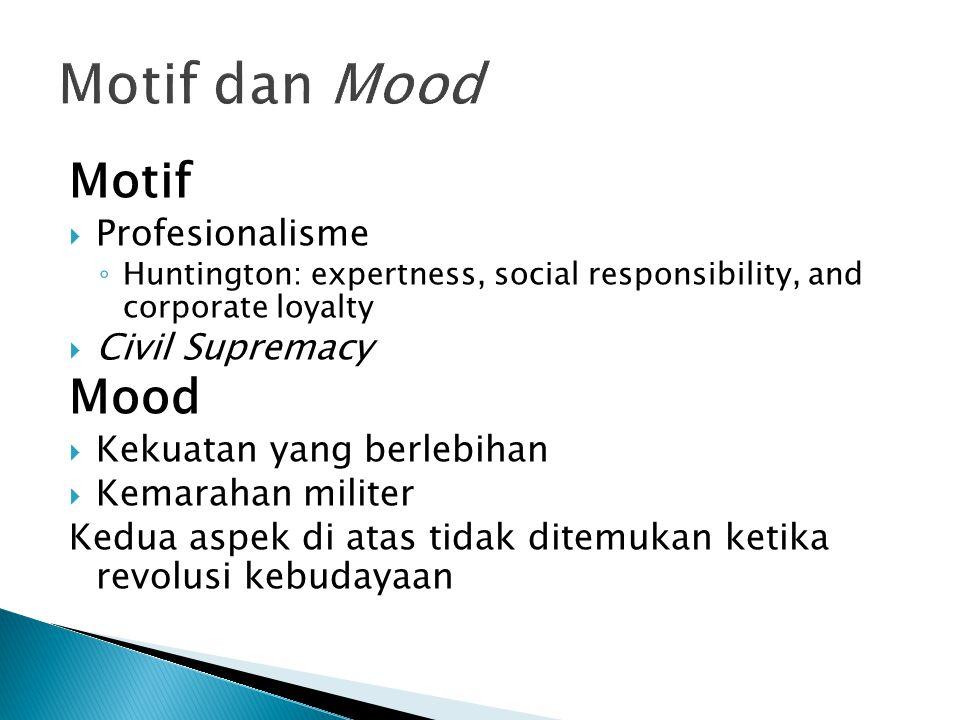 Motif dan Mood Motif Mood Profesionalisme Civil Supremacy
