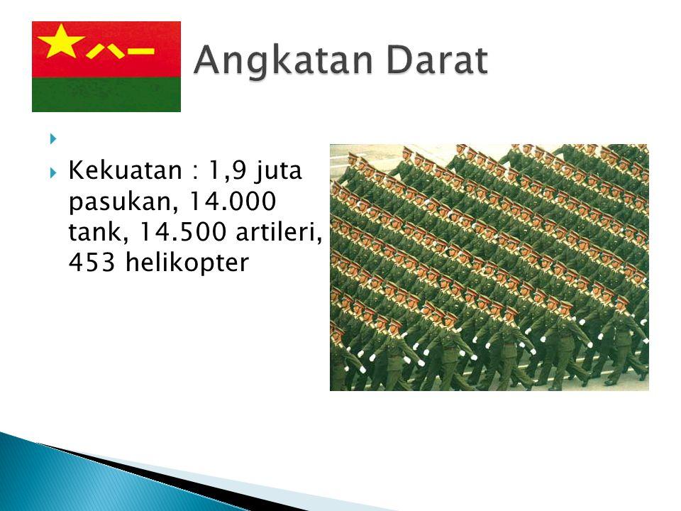Angkatan Darat Kekuatan : 1,9 juta pasukan, 14.000 tank, 14.500 artileri, 453 helikopter