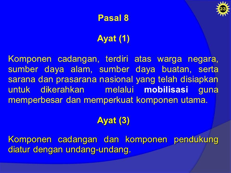 Komponen cadangan dan komponen pendukung diatur dengan undang-undang.