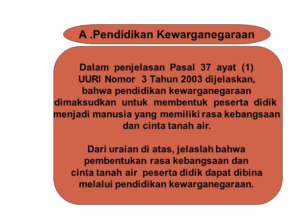 A .Pendidikan Kewarganegaraan