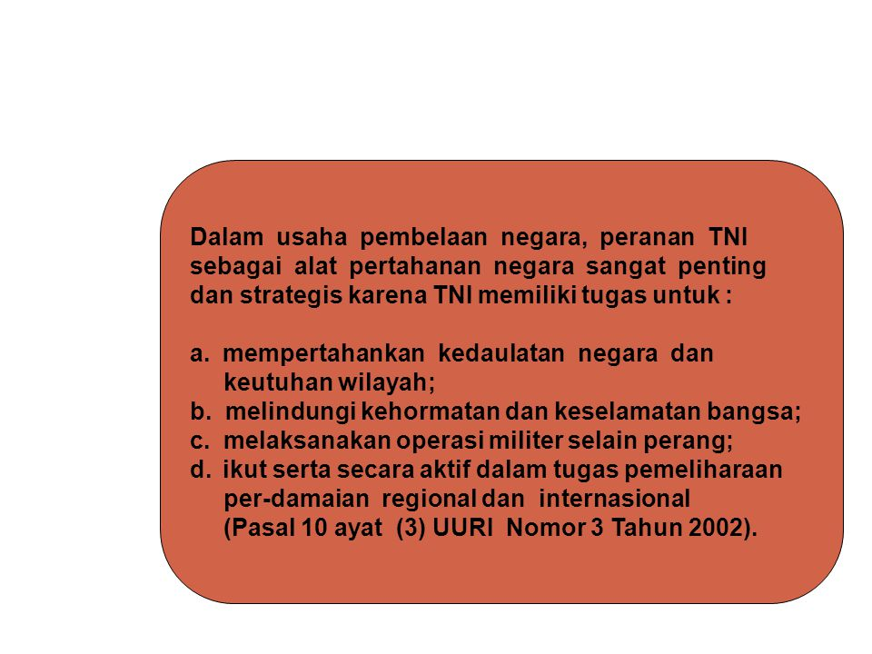 Dalam usaha pembelaan negara, peranan TNI