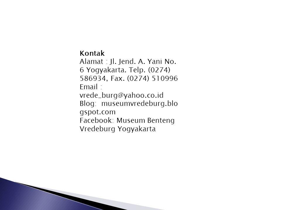 Kontak Alamat : Jl. Jend. A. Yani No. 6 Yogyakarta. Telp. (0274) 586934, Fax. (0274) 510996. Email : vrede_burg@yahoo.co.id