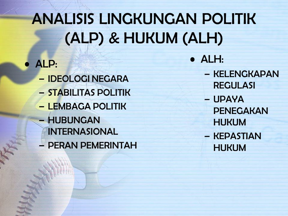 ANALISIS LINGKUNGAN POLITIK (ALP) & HUKUM (ALH)