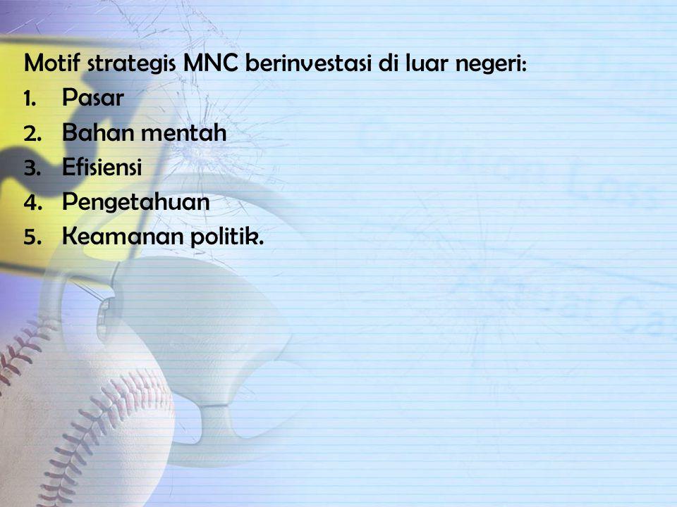 Motif strategis MNC berinvestasi di luar negeri: