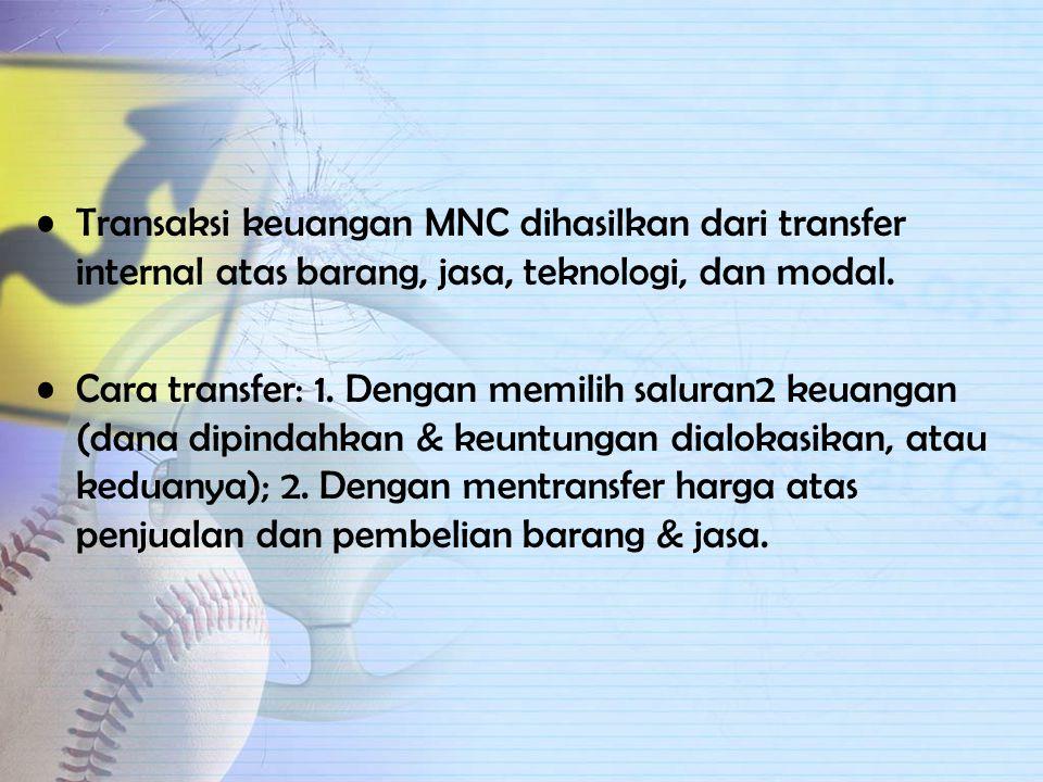 Transaksi keuangan MNC dihasilkan dari transfer internal atas barang, jasa, teknologi, dan modal.