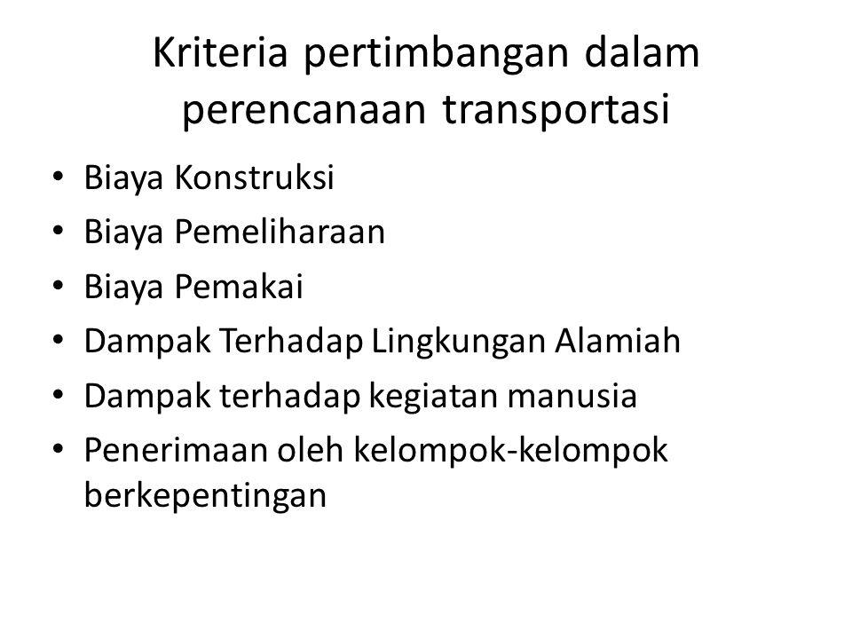 Kriteria pertimbangan dalam perencanaan transportasi