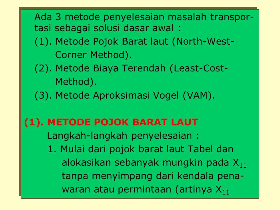 Ada 3 metode penyelesaian masalah transpor-tasi sebagai solusi dasar awal :
