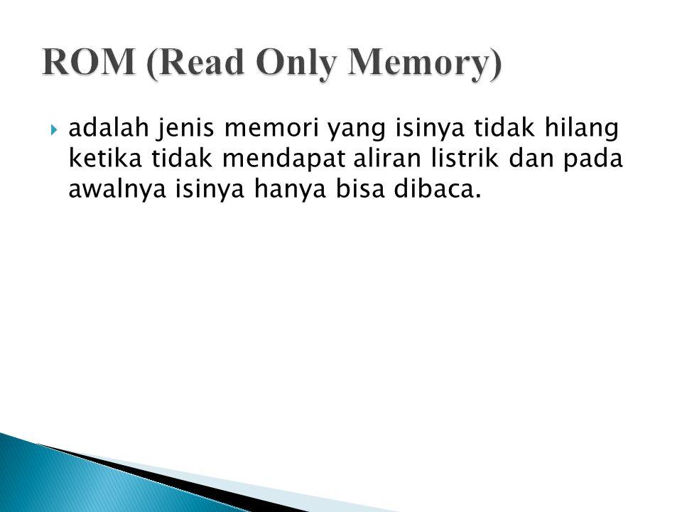 ROM (Read Only Memory) adalah jenis memori yang isinya tidak hilang ketika tidak mendapat aliran listrik dan pada awalnya isinya hanya bisa dibaca.