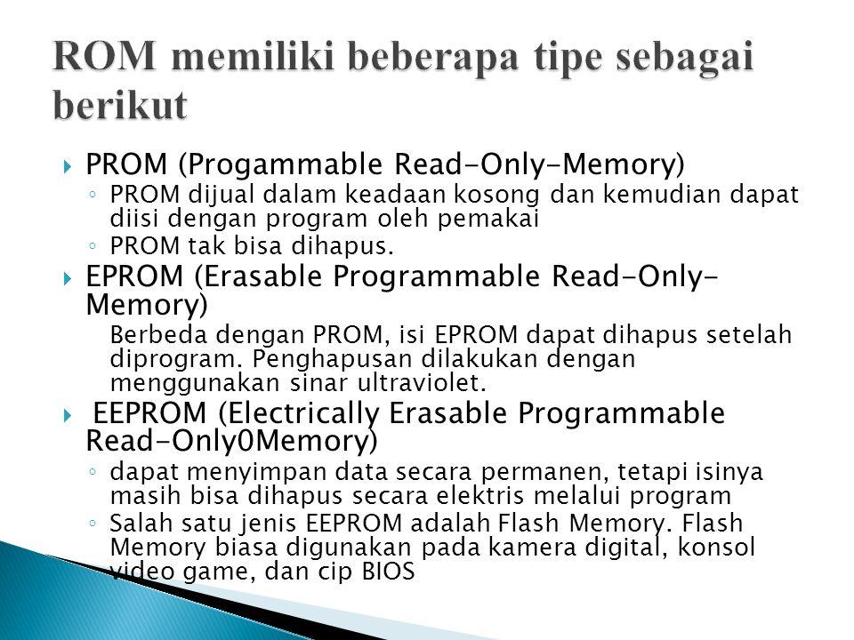 ROM memiliki beberapa tipe sebagai berikut