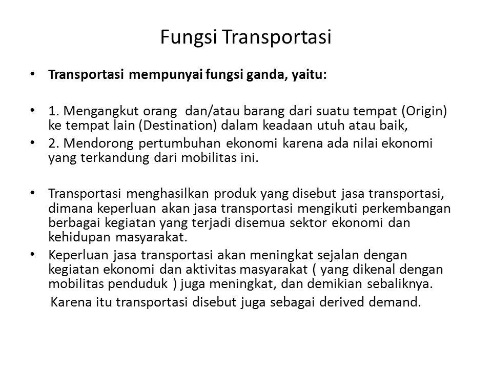 Fungsi Transportasi Transportasi mempunyai fungsi ganda, yaitu: