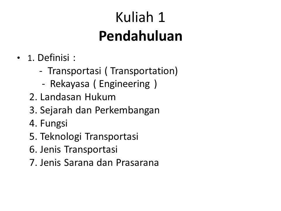 Kuliah 1 Pendahuluan - Transportasi ( Transportation)