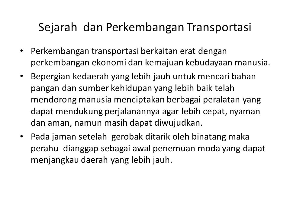 Sejarah dan Perkembangan Transportasi