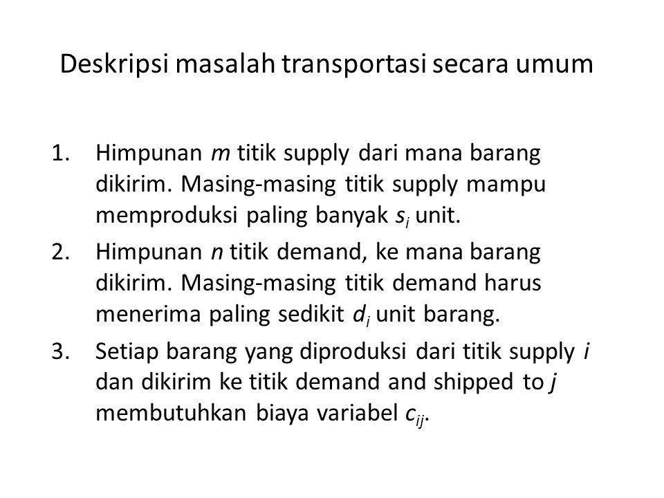 Deskripsi masalah transportasi secara umum