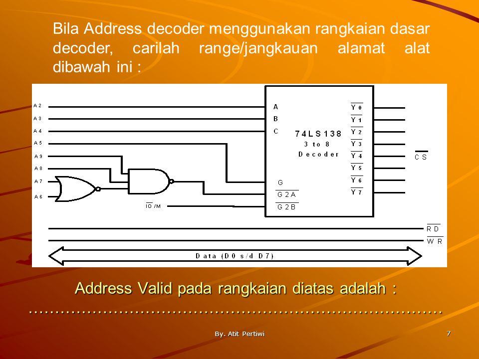 Bila Address decoder menggunakan rangkaian dasar decoder, carilah range/jangkauan alamat alat dibawah ini :