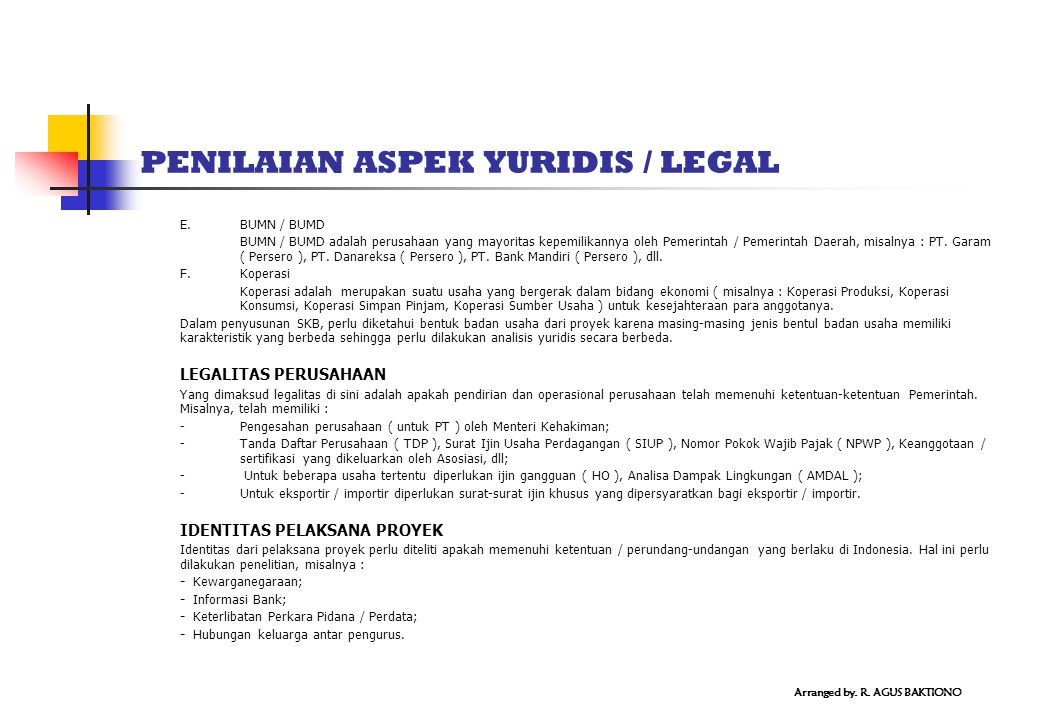 PENILAIAN ASPEK YURIDIS / LEGAL