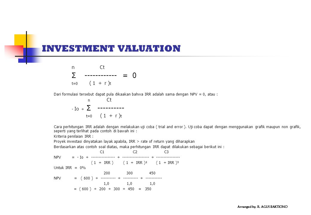INVESTMENT VALUATION Σ ------------ = 0 n Ct t=0 ( 1 + r )t