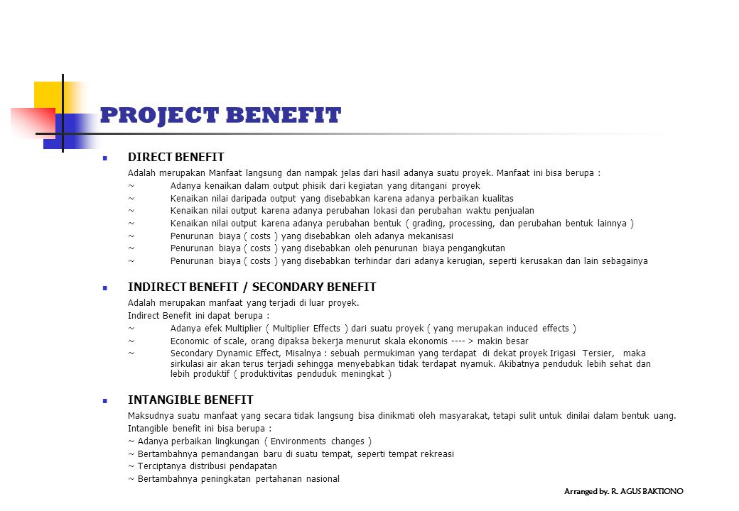 PROJECT BENEFIT DIRECT BENEFIT