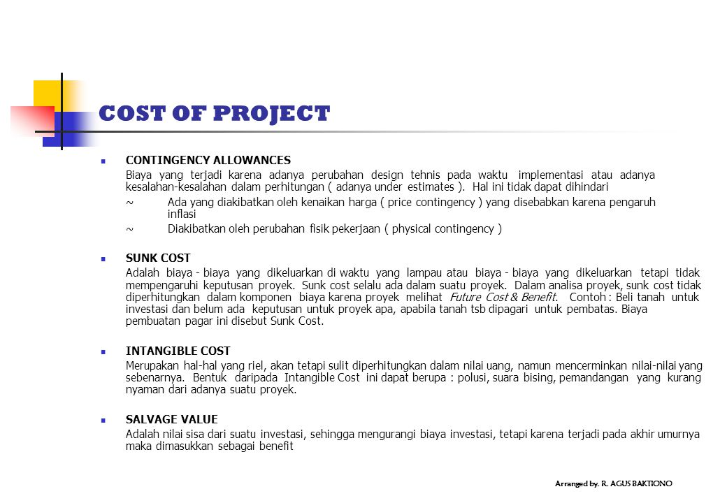 COST OF PROJECT CONTINGENCY ALLOWANCES