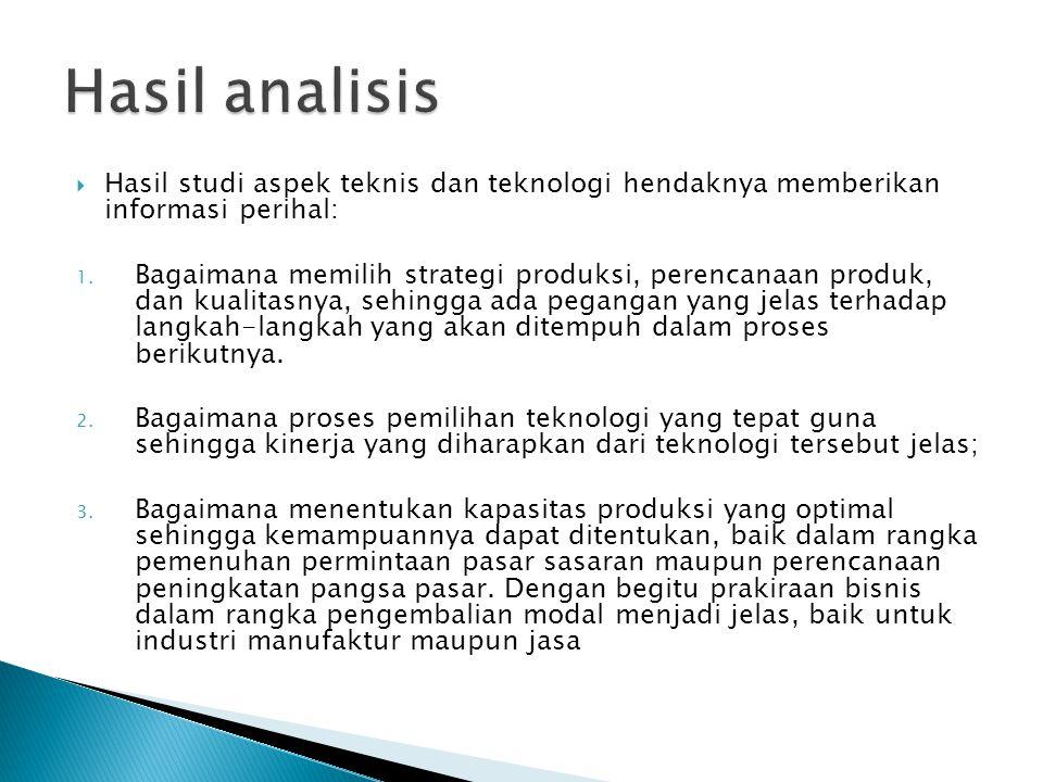Hasil analisis Hasil studi aspek teknis dan teknologi hendaknya memberikan informasi perihal: