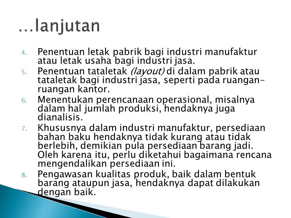 …lanjutan Penentuan letak pabrik bagi industri manufaktur atau letak usaha bagi industri jasa.