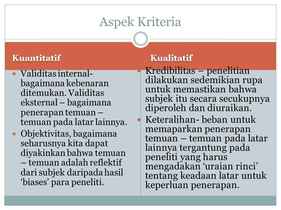Aspek Kriteria Kuantitatif. Kualitatif.