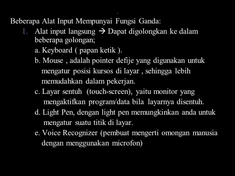 Beberapa Alat Input Mempunyai Fungsi Ganda: