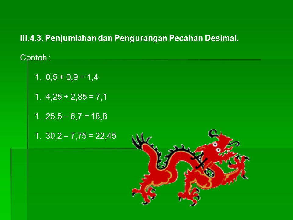 III.4.3. Penjumlahan dan Pengurangan Pecahan Desimal.