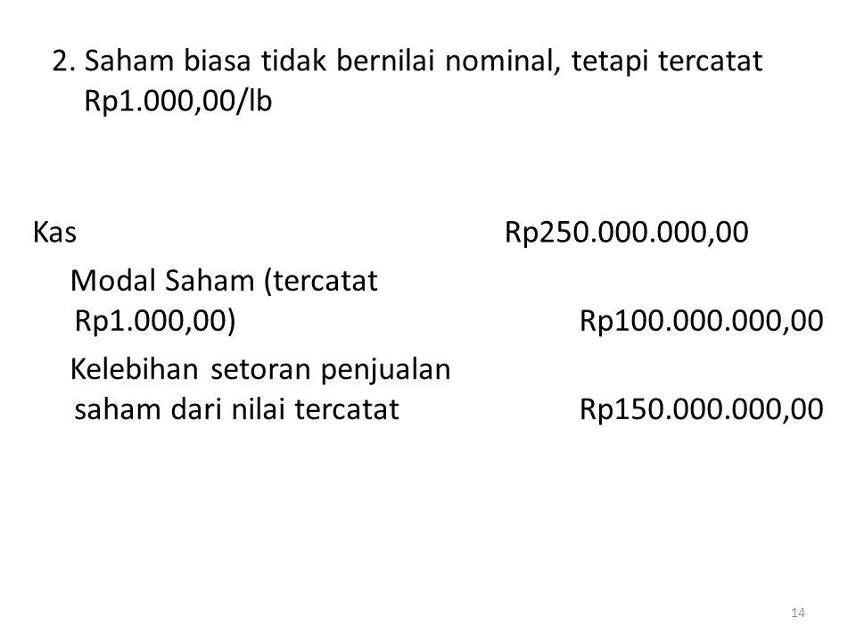 2. Saham biasa tidak bernilai nominal, tetapi tercatat Rp1.000,00/lb