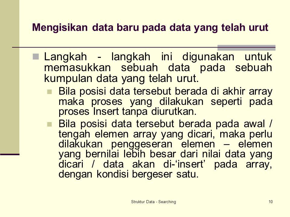 Mengisikan data baru pada data yang telah urut