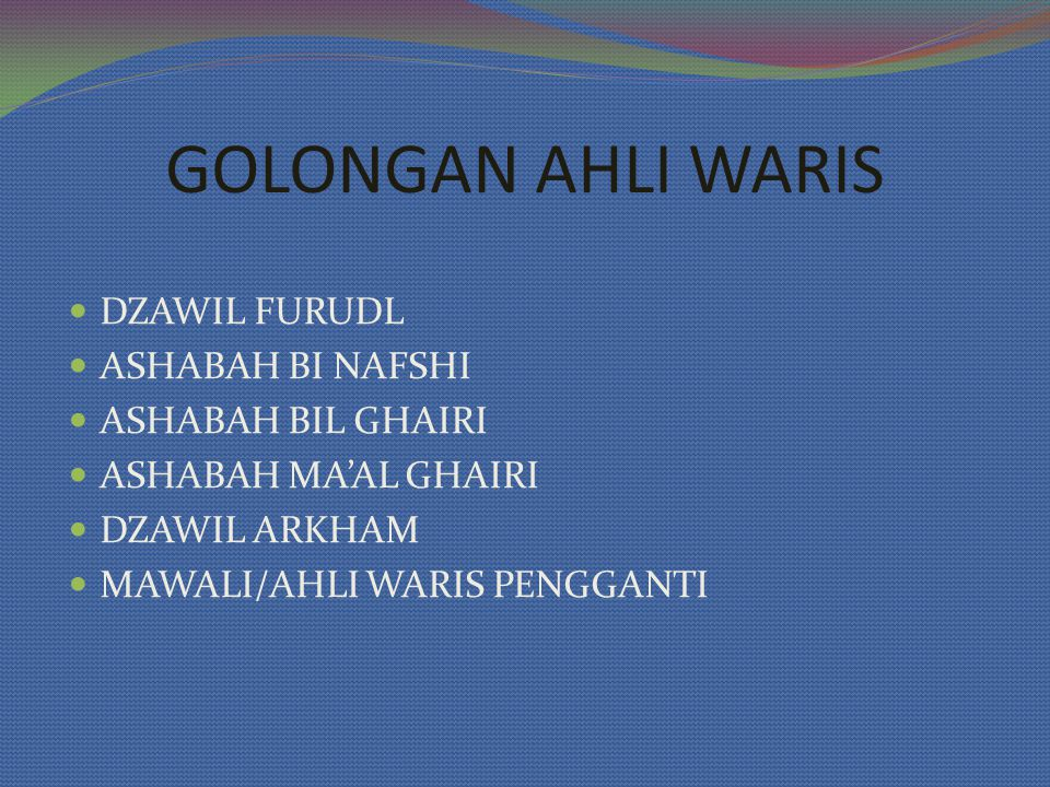 GOLONGAN AHLI WARIS DZAWIL FURUDL ASHABAH BI NAFSHI ASHABAH BIL GHAIRI