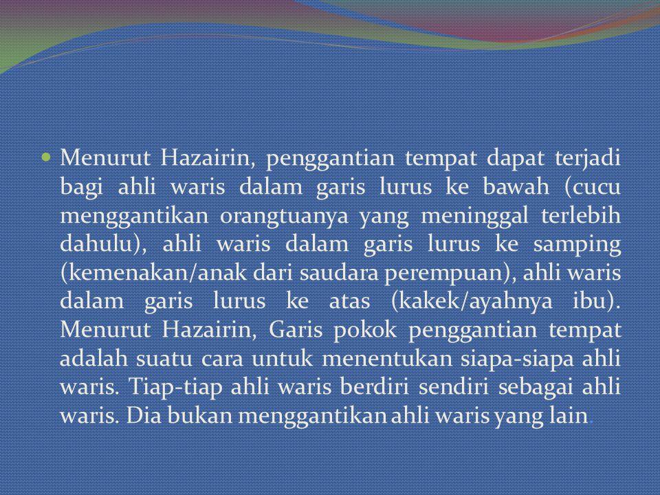Menurut Hazairin, penggantian tempat dapat terjadi bagi ahli waris dalam garis lurus ke bawah (cucu menggantikan orangtuanya yang meninggal terlebih dahulu), ahli waris dalam garis lurus ke samping (kemenakan/anak dari saudara perempuan), ahli waris dalam garis lurus ke atas (kakek/ayahnya ibu).