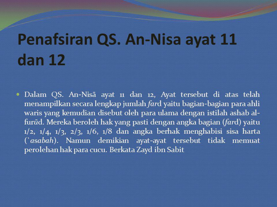 Penafsiran QS. An-Nisa ayat 11 dan 12