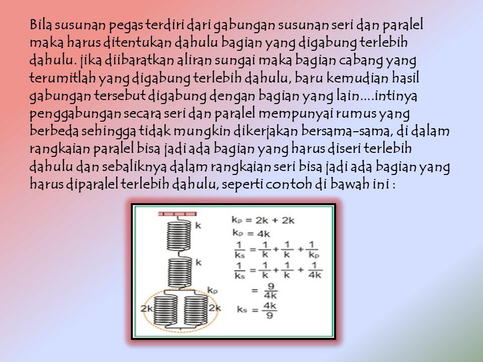 Bila susunan pegas terdiri dari gabungan susunan seri dan paralel maka harus ditentukan dahulu bagian yang digabung terlebih dahulu.
