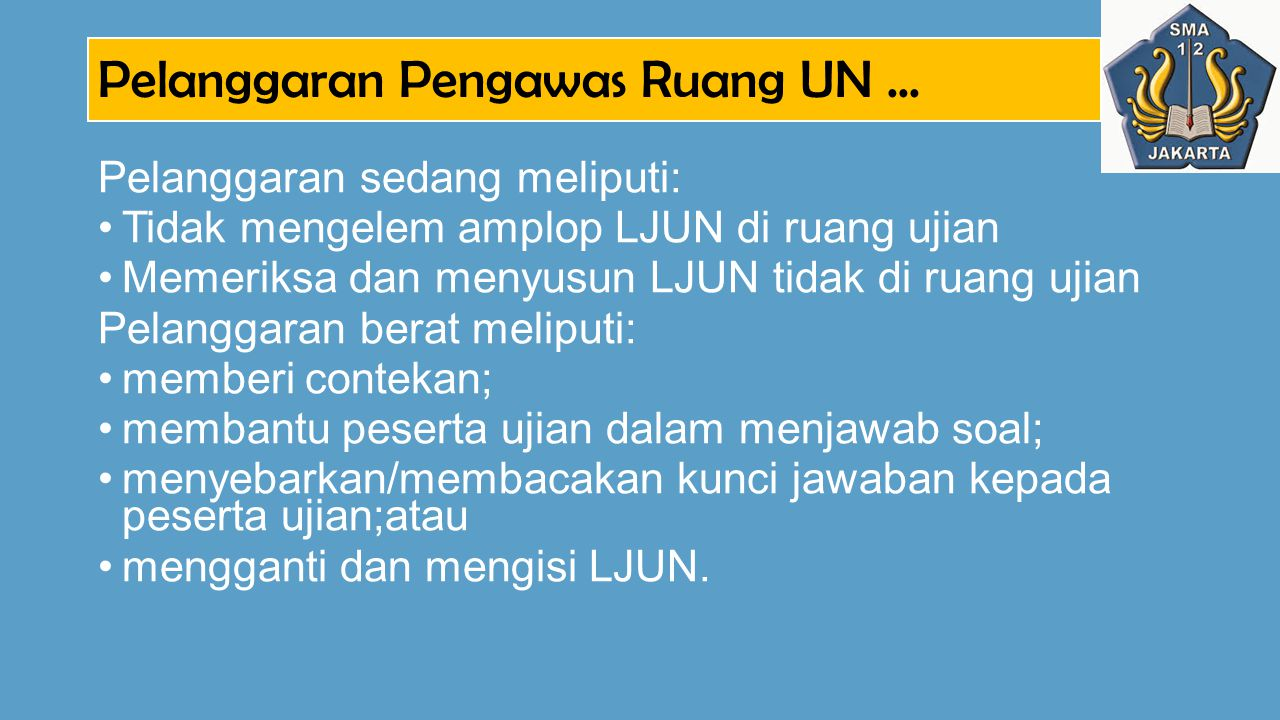 Pelanggaran Pengawas Ruang UN ...