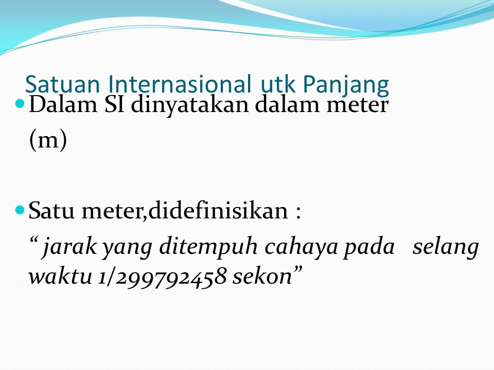 Satuan Internasional utk Panjang
