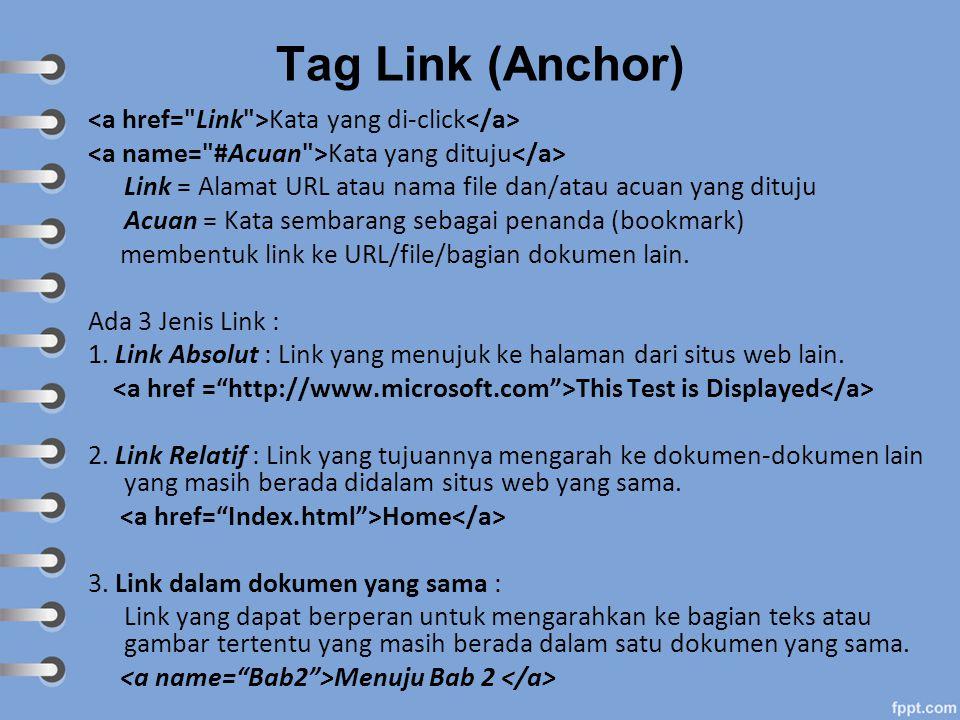Tag Link (Anchor) <a href= Link >Kata yang di-click</a>