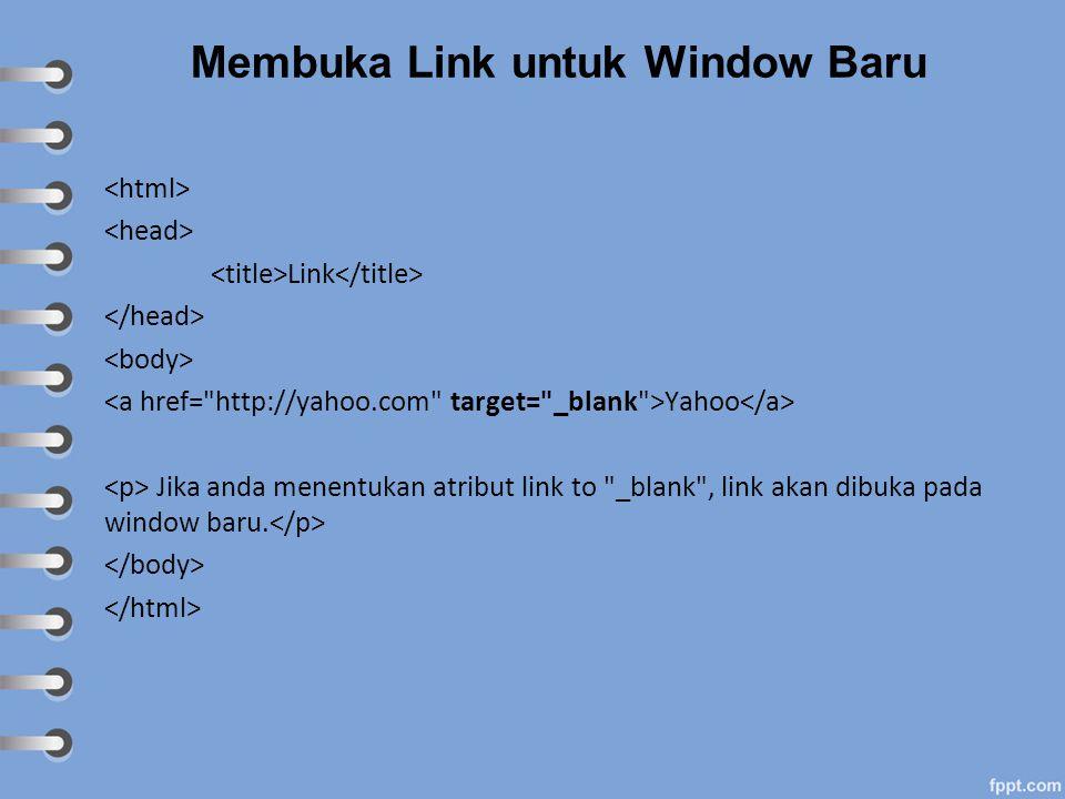 Membuka Link untuk Window Baru