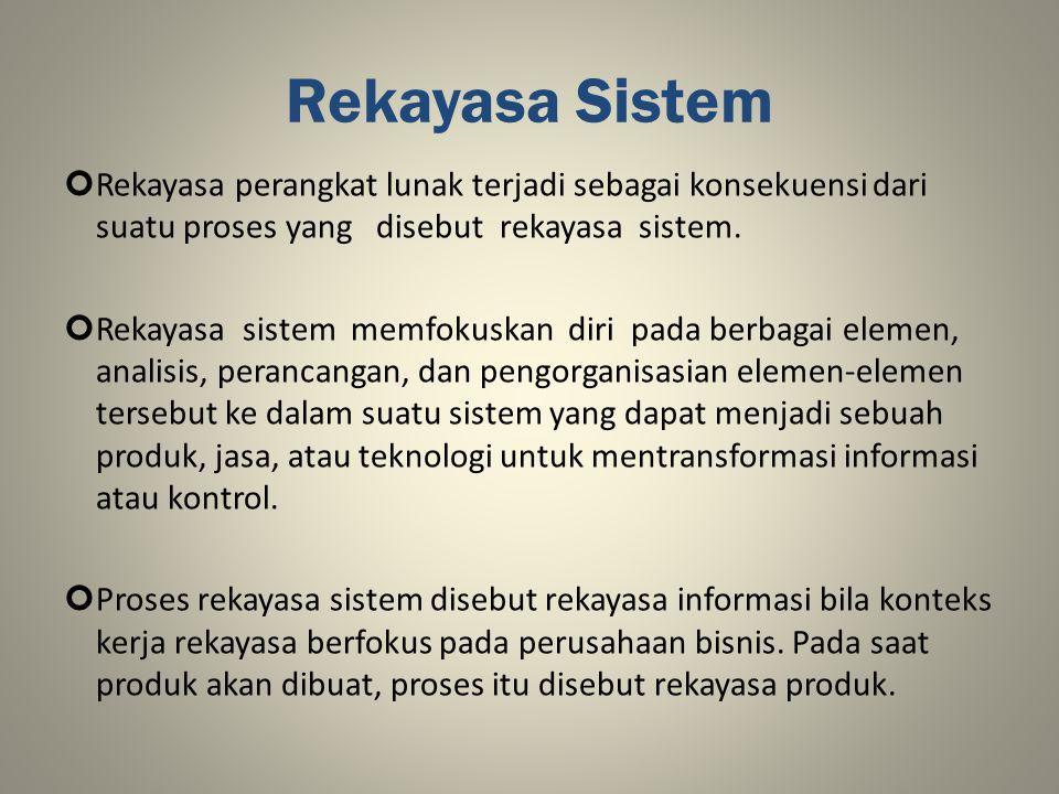 Rekayasa Sistem Rekayasa perangkat lunak terjadi sebagai konsekuensi dari suatu proses yang disebut rekayasa sistem.