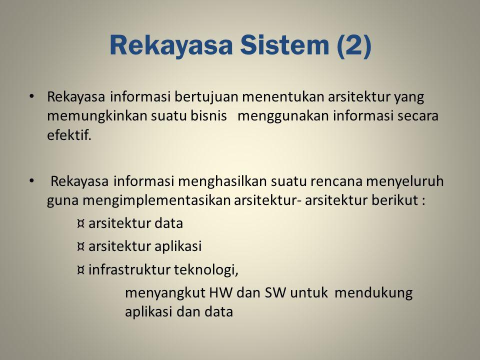 Rekayasa Sistem (2) Rekayasa informasi bertujuan menentukan arsitektur yang memungkinkan suatu bisnis menggunakan informasi secara efektif.
