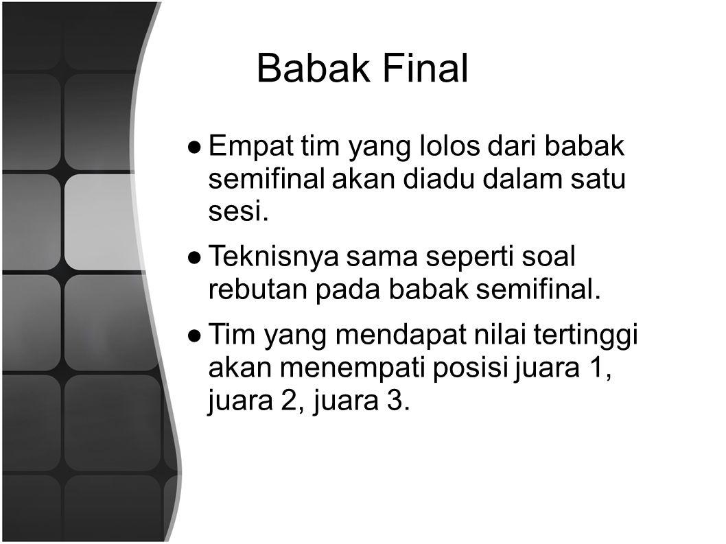 Babak Final Empat tim yang lolos dari babak semifinal akan diadu dalam satu sesi. Teknisnya sama seperti soal rebutan pada babak semifinal.