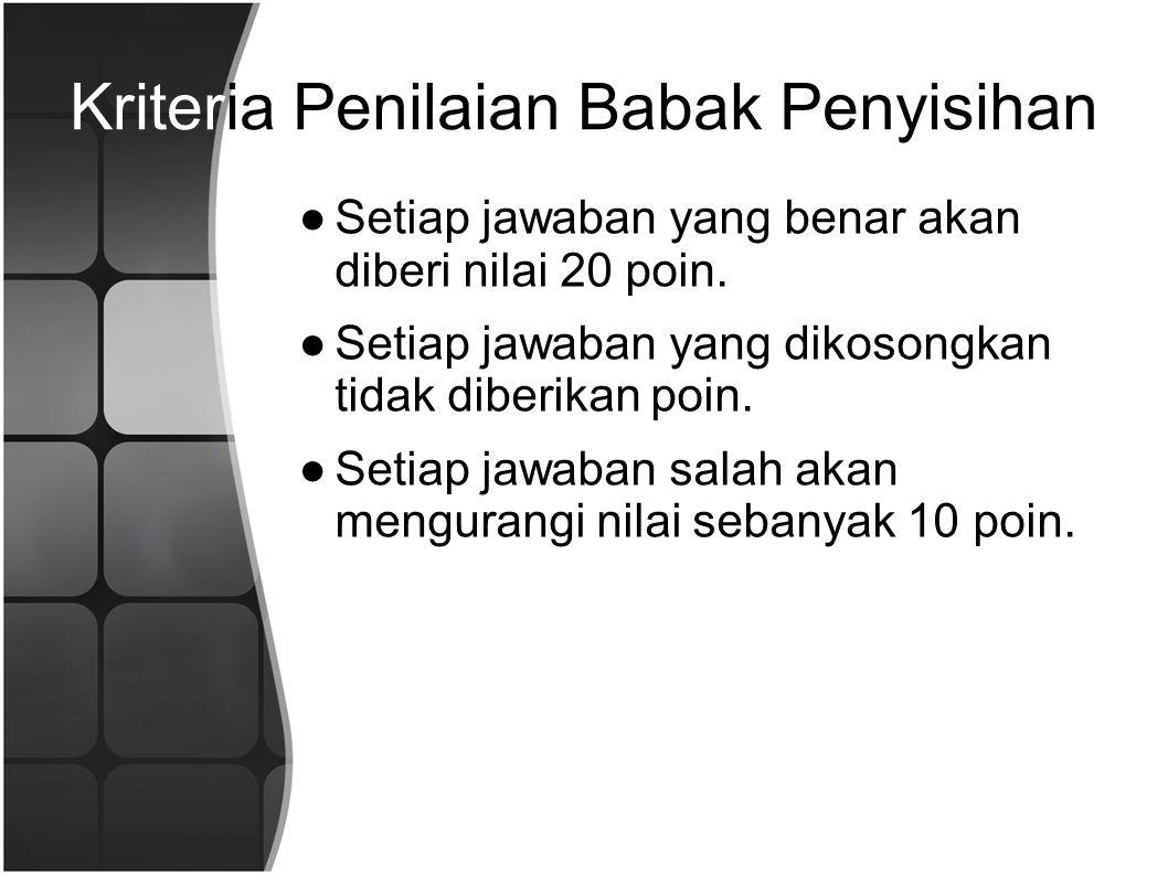 Kriteria Penilaian Babak Penyisihan