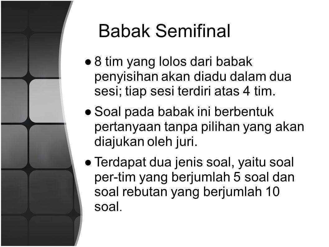 Babak Semifinal 8 tim yang lolos dari babak penyisihan akan diadu dalam dua sesi; tiap sesi terdiri atas 4 tim.