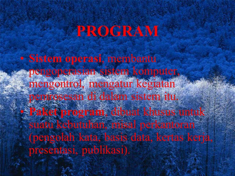 PROGRAM Sistem operasi, membantu pengoperasian sistem komputer, mengontrol, mengatur kegiatan pemrosesan di dalam sistem itu.